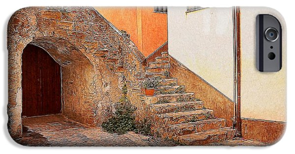 Garden Scene Digital iPhone Cases - Courtyard of Old house in the ancient village of Cefalu iPhone Case by Stefano Senise