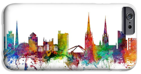 Great Britain iPhone Cases - Coventry England Skyline iPhone Case by Michael Tompsett