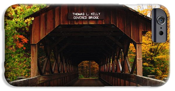 Artists4god iPhone Cases - Covered Bridge at Allegany State Park iPhone Case by Rose Santuci-Sofranko