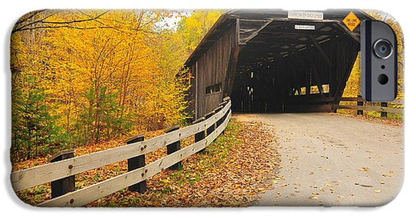 Covered Bridge iPhone Cases - Covered Bridge iPhone Case by Catherine Reusch  Daley