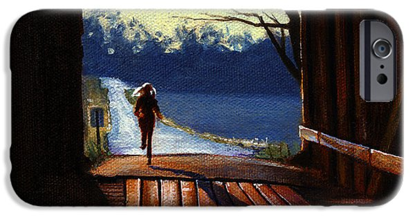 Covered Bridge Paintings iPhone Cases - Covered Bridge iPhone Case by Robert Tracy