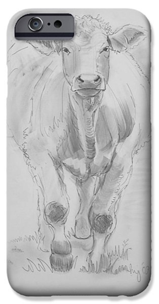 Cow Drawing iPhone Case by Mike Jory