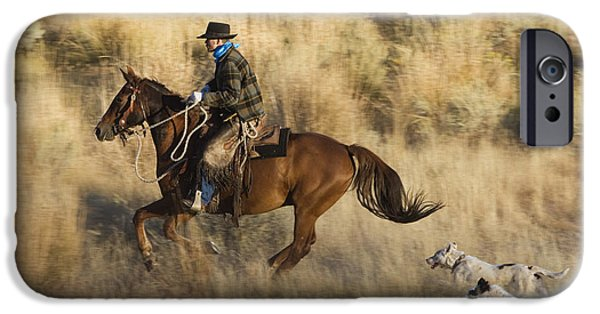 Following iPhone Cases - Cowboy Riding With Dogs Oregon iPhone Case by Konrad Wothe