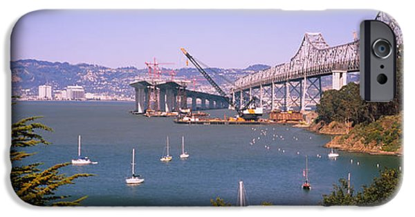 Sailboat iPhone Cases - Cranes At A Bridge Construction Site iPhone Case by Panoramic Images