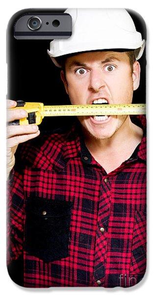 Diy iPhone Cases - Crazy builder biting his tape measure iPhone Case by Ryan Jorgensen