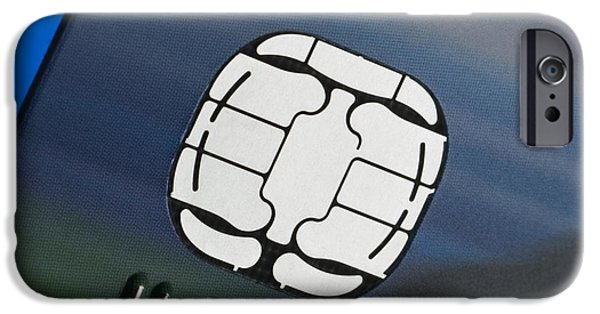 Microchip Photographs iPhone Cases - Credit Card Microchip iPhone Case by Steve Horrell