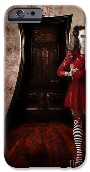 Haunted House iPhone Cases - Creepy woman with bloody scissors in haunted house iPhone Case by Ryan Jorgensen