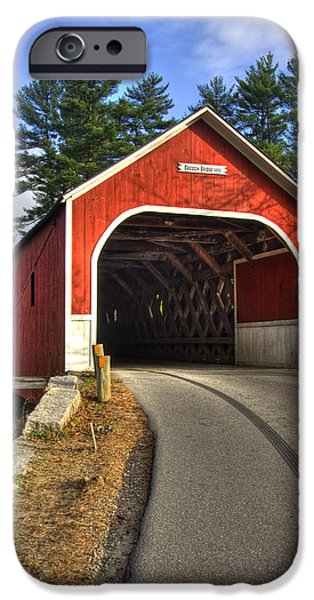 New England Autumn Scenes iPhone Cases - Cresson Covered Bridge iPhone Case by Joann Vitali