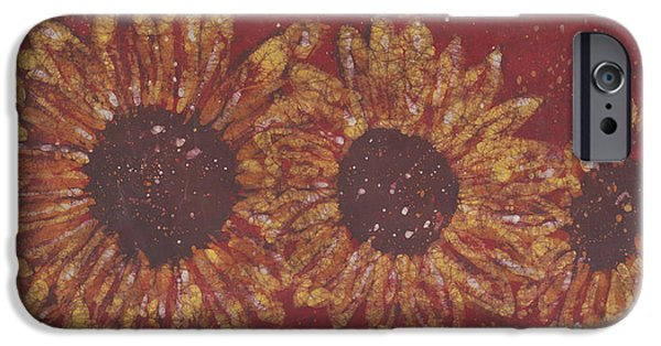 Garden Tapestries - Textiles iPhone Cases - Crimson Sunflowers iPhone Case by Kevin Houchin