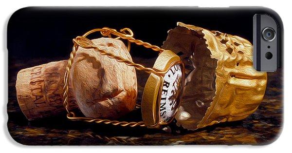 Wine Bottles Mixed Media iPhone Cases - Cristal Cork Granite Digital Paint iPhone Case by Jon Neidert
