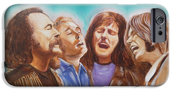 Neil Young Paintings iPhone Cases - Crosby Stills Nash and Young iPhone Case by Kean Butterfield