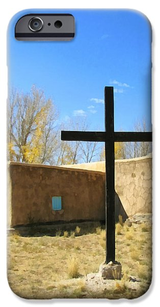 Historic Site iPhone Cases - Cross at Morada de Taos iPhone Case by Ann Powell
