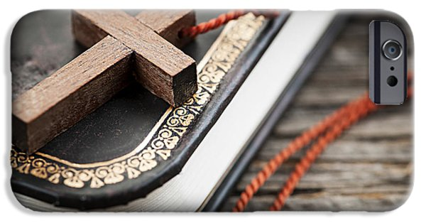 Religious iPhone Cases - Cross on Bible iPhone Case by Elena Elisseeva