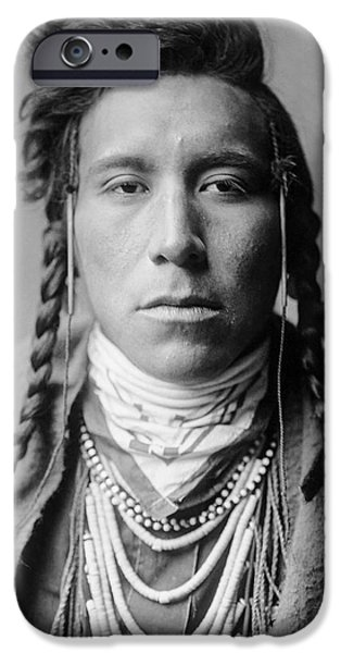 Young Photographs iPhone Cases - Crow Indian Man circa 1908 iPhone Case by Aged Pixel