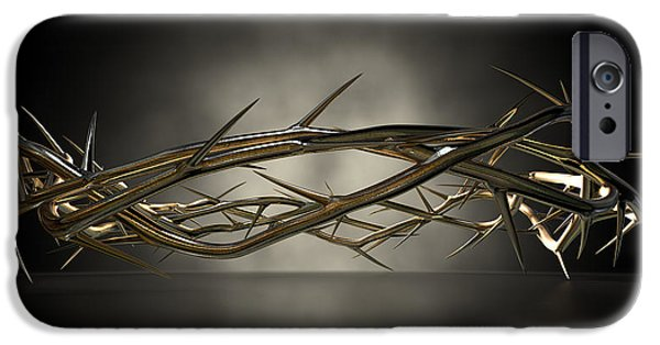 Gold Digital Art iPhone Cases - Crown Of Thorns Gold Casting iPhone Case by Allan Swart