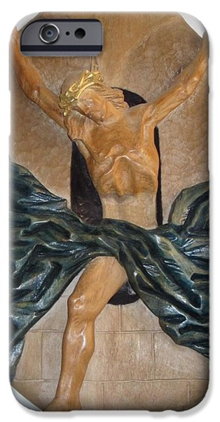 Jesus Reliefs iPhone Cases - Crucifix iPhone Case by Wilfried  Senoner