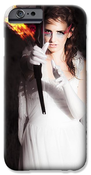 Night Angel iPhone Cases - Cupid Angel Of Romance Setting Hearts On Fire iPhone Case by Ryan Jorgensen