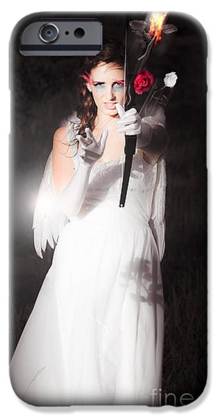 Night Angel iPhone Cases - Cupid Igniting The Spark Of Love iPhone Case by Ryan Jorgensen