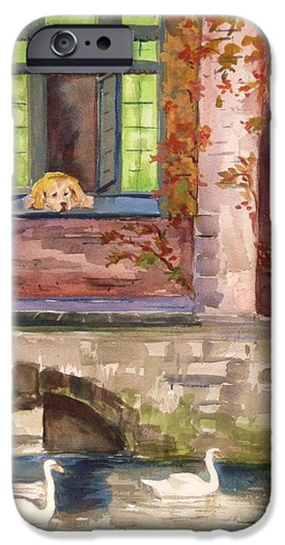 Dog In Landscape iPhone Cases - Curiosity iPhone Case by Nancy Brennand