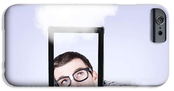 Multimedia iPhone Cases - Curious nerd business man using cloud computing iPhone Case by Ryan Jorgensen