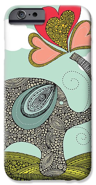 Floral Digital Art Digital Art Photographs iPhone Cases - Cute elephant iPhone Case by Valentina Ramos