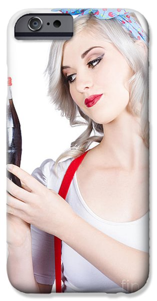 1950s Portraits iPhone Cases - Cute pin up girl with soda bottle. Vintage cafe iPhone Case by Ryan Jorgensen