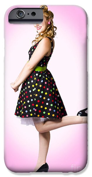 60s Hair iPhone Cases - Cute Pin-Up Style Fashion Model In Retro Dress iPhone Case by Ryan Jorgensen