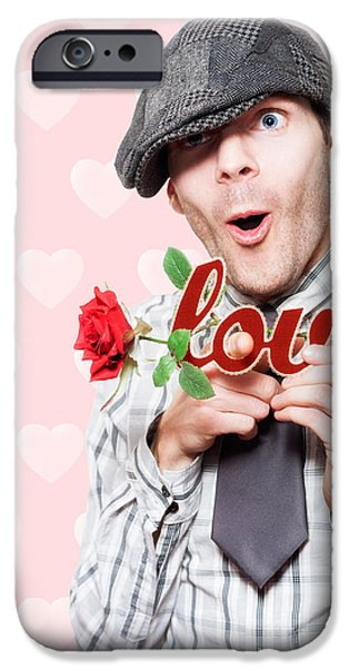 Penetration iPhone Cases - Cute Surprised School Boy Experiencing First Love iPhone Case by Ryan Jorgensen