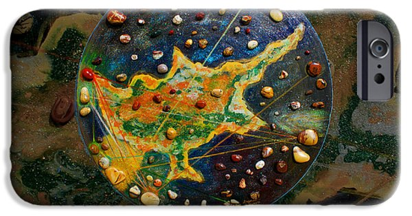 Nebula Paintings iPhone Cases - Cyprus Planetary Map iPhone Case by Augusta Stylianou