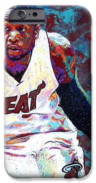 Miami Heat iPhone Cases - D. Wade iPhone Case by Maria Arango