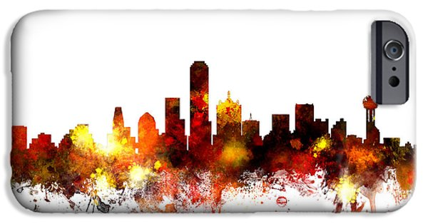 States iPhone Cases - Dallas Texas Skyline iPhone Case by Michael Tompsett