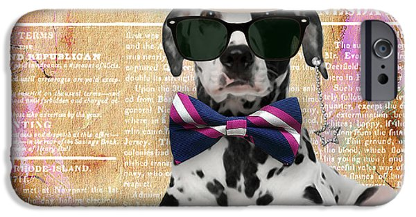 Portrait iPhone Cases - Dalmatian Bowtie Collection iPhone Case by Marvin Blaine