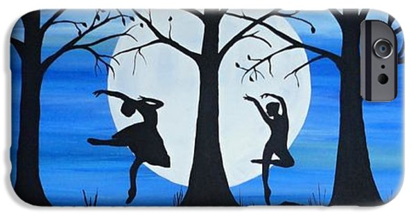 Ballet Dancers iPhone Cases - Dance by the light of the moon iPhone Case by Rachel  Olynuk