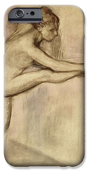 Ballet Drawings iPhone Cases - Dancer at the Bar iPhone Case by Edgar Degas
