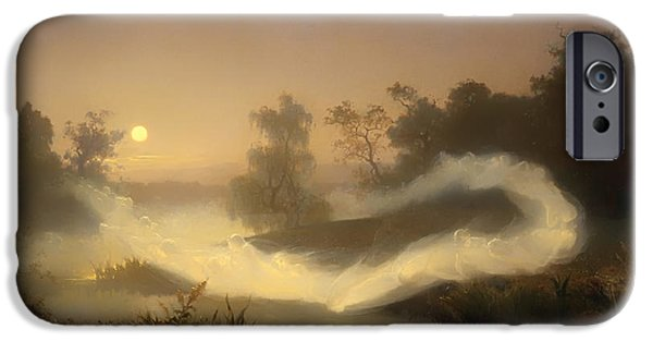 Eerie Paintings iPhone Cases - Dancing Fairies  iPhone Case by August Malmstrom