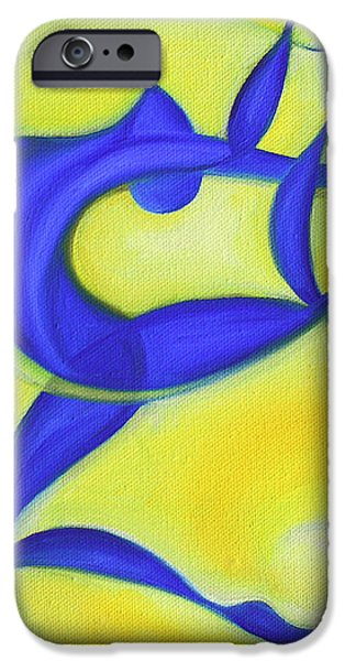 Abstract Expressionist Paintings iPhone Cases - Dancing Sprite in Yellow and Blue iPhone Case by Tiffany Davis-Rustam