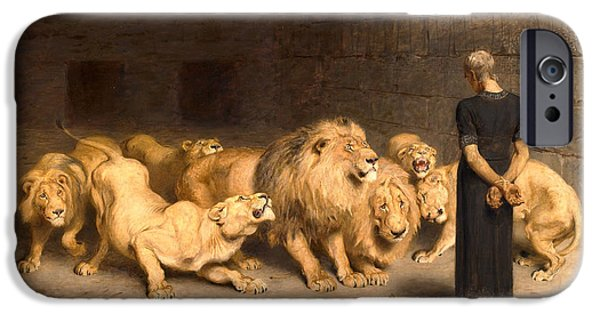 Briton iPhone Cases - Daniel in the lions den iPhone Case by Briton Riviere
