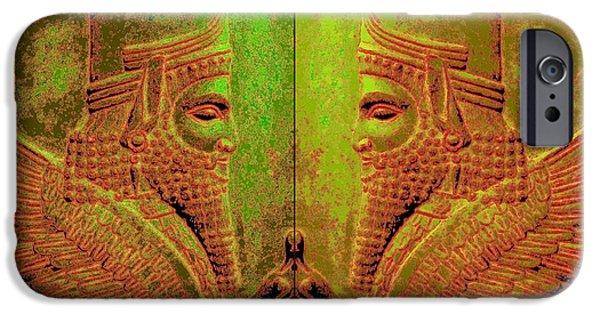 King Of The Persians iPhone Cases - Darius The Great- Sphinx-poster iPhone Case by Dariush Alipanah- Jahroudi