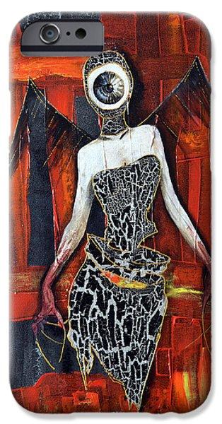 H.r. Giger iPhone Cases - Dark Angel Eye iPhone Case by Jakub DK