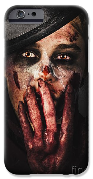 Ghastly iPhone Cases - Dark face of fear. Fright night iPhone Case by Ryan Jorgensen