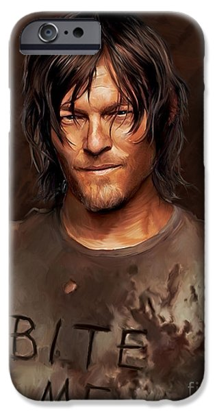 Celebrities Digital iPhone Cases - Daryl - Bite Me iPhone Case by Paul Tagliamonte