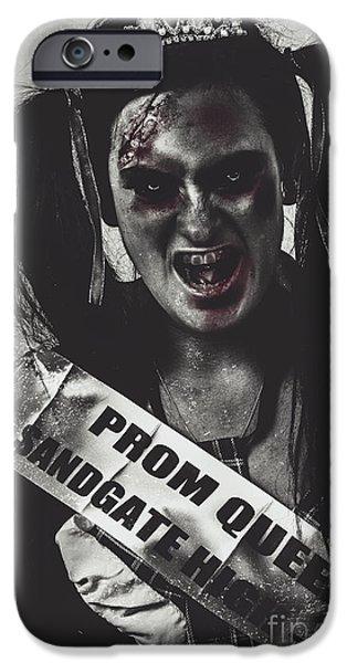Haunted Schools iPhone Cases - Dead prom queen at high school reunion  iPhone Case by Ryan Jorgensen