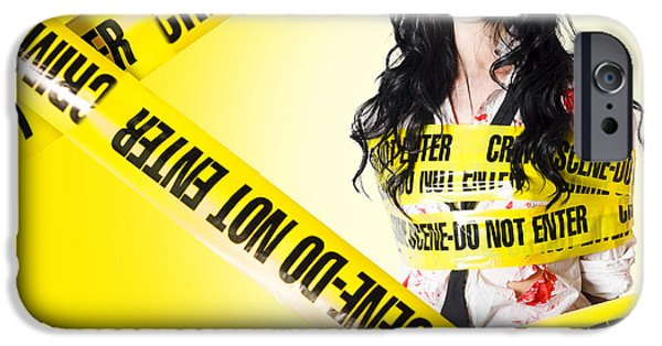 Police iPhone Cases - Dead zombie wrapped in tape at crime scene iPhone Case by Ryan Jorgensen