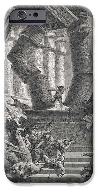 Religious Drawings iPhone Cases - Death of Samson iPhone Case by Gustave Dore