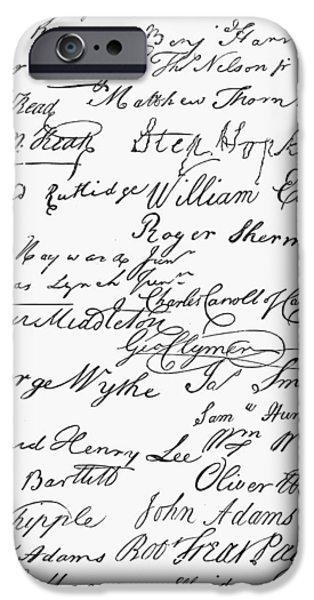 American Revolution iPhone Cases - Declaration: Signatures iPhone Case by Granger