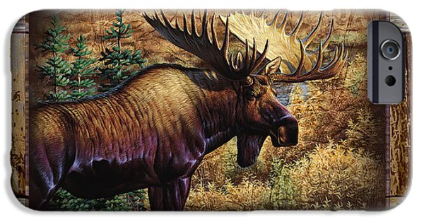 Cynthie Fisher iPhone Cases - Deco Moose iPhone Case by Cynthie Fisher