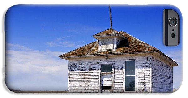 Abandoned School House. iPhone Cases - Defunct One Room Country School Building iPhone Case by Donald  Erickson