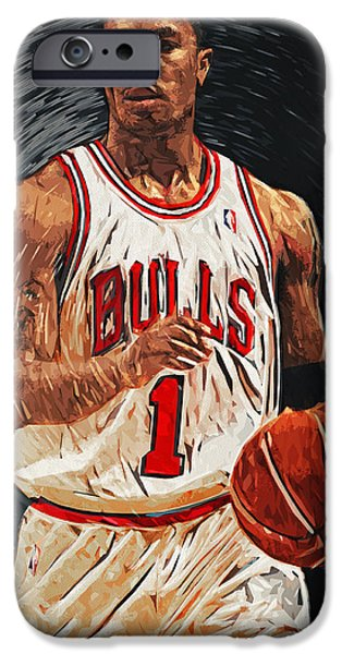 Obama iPhone Cases - Derrick Rose iPhone Case by Taylan Soyturk