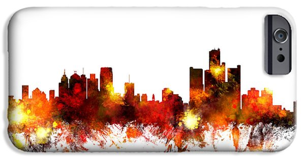 Detroit Digital iPhone Cases - Detroit Michigan Skyline iPhone Case by Michael Tompsett