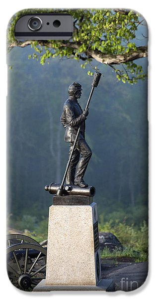 Statue Of Confederate Soldier iPhone Cases - Devils Den Monument at Gettysburg iPhone Case by John Greim